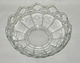 Imperial Crocheted Crystal Pattern 6-inch Footed Bowl w/Cut Cornflower Design - $9.85