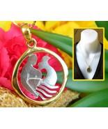 Merman Mermaid Fish Abstract Pendant Necklace Gold Silver Tone Chain - $37.95