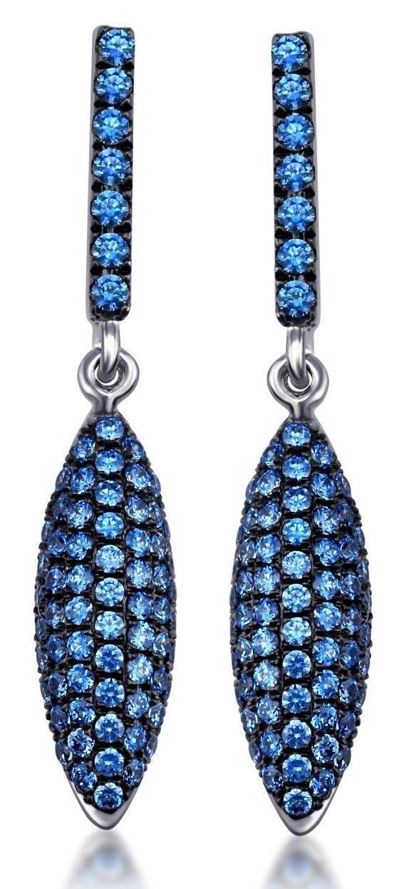 Sterling Silver 925 Dangle Earrings Pave Setting Blue Swarovski Zirconia Stones