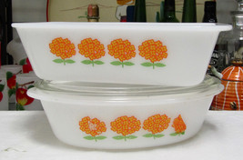 Glasbake Orange Yellow Flowers Casserole With J235 Lid Loaf Pan J522 - $20.79