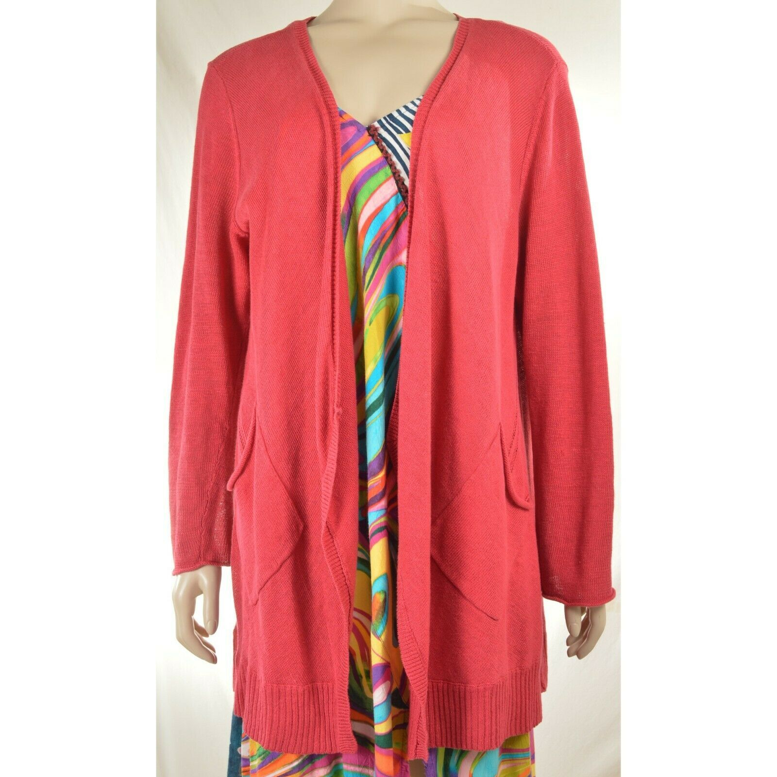Eileen Fisher sweater cardigan SZ L soft red 100% linen knit pockets soft long s