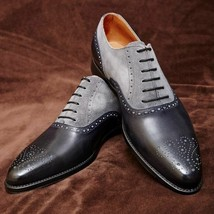 Handmade Men's Black Leather & Grey Suede Heart Medallion Dress/Formal Shoes image 4