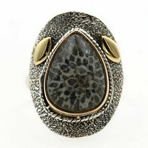 Two Tone Stingray Coral 925 Solid Sterling Silver Ring Jewelry Sz 7.5, E... - $31.67