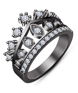 Queen Crown Ring For Women's Solid Black Gold Finish Pure 925 Sterling S... - $78.99