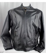 Leather black men's motorcycle biker jacket size 50 - $61.27