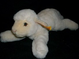"12"" WHITE CREME STEIFF LAMB BOEKY 082481 STUFFED ANIMAL PLUSH TOY GOLD T... - $73.87"