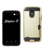 Reiko Lg Stylo 3/ Stylus 3 Slim Armor Hybrid Case With Card Holder In Go... - $8.54