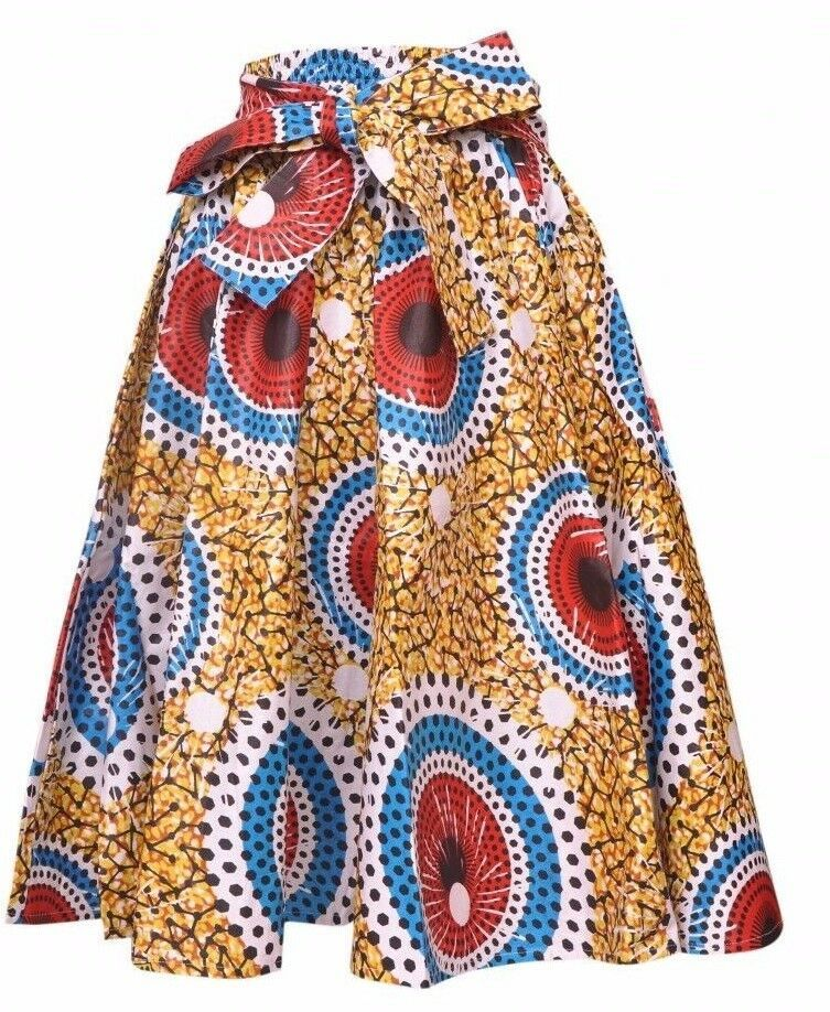 Falda Fit L XL 1X 2X Plus África Impresión de Cera Ankara Oro Rojo Nuevo con