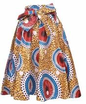 Falda Fit L XL 1X 2X Plus África Impresión de Cera Ankara Oro Rojo Nuevo... - $31.84