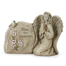 Napco Bless This Garden Angel Concrete Look 11 x 8.25 Resin Stone Garden... - $24.46