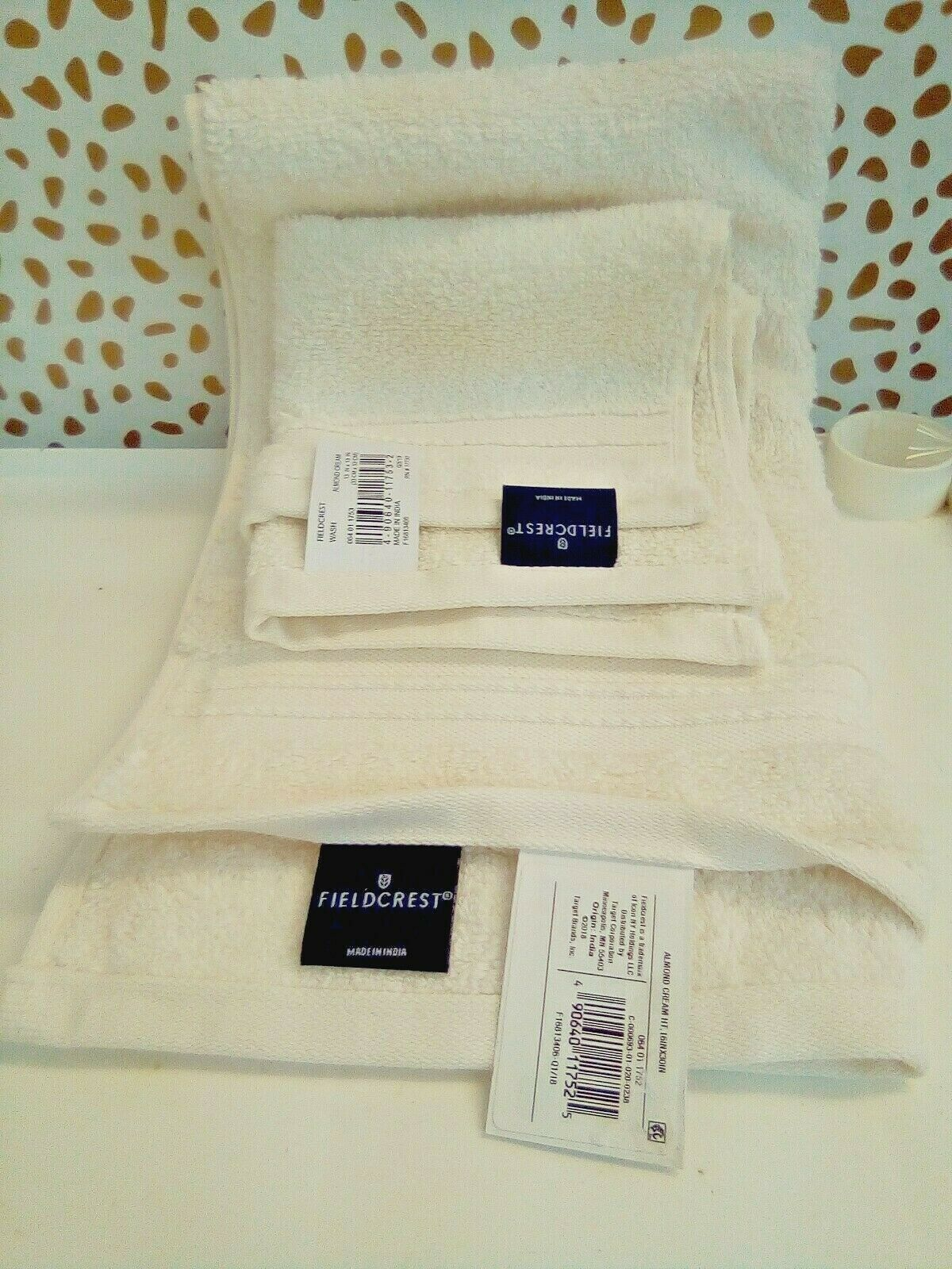 FIELDCREST 2Pc  Towel Set 100%Cotton 1 HAND Towel & 1 Washcloth -ALMOND CREAM-