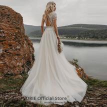 Appliques Bridal Gowns Boho Cap Sleeve A-Line Beach Wedding Gowns Vintage Plus S image 2