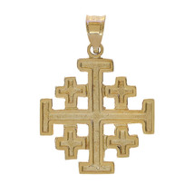 14K Yellow Gold 5 Greek Crosses Medieval Religious Charm Pendant - $117.81