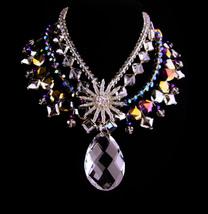 Vintage Dramatic parure - HUGE necklace - vintage starburst brooch - pur... - $285.00