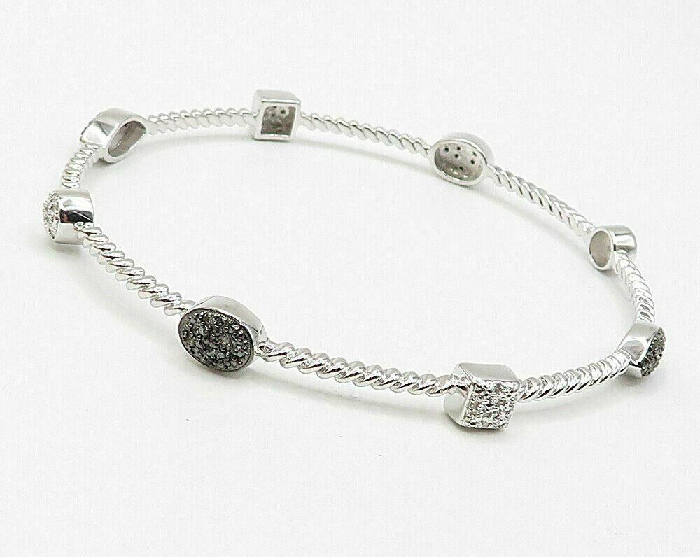 925 Silver - .50ctw Genuine Black & White Diamonds Bangle Bracelet - B2659 image 2