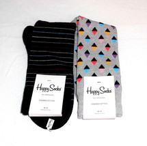 Two Pair of Happy Socks Black Gray Multi Colors Combed Cotton Size 10-13 - $16.54