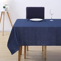 Deconovo Decorative Cotton Navy Blue Tablecloth Rectangular Water Resist... - $20.46
