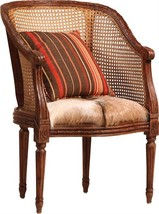 Arm Chair DOVETAIL FRANCIS Striped Stripes Rattan Hardwood - £991.22 GBP