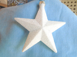 White Glitter Star Ornaments Tree Patriotic Fourth of July 4TH Independe... - €3,41 EUR
