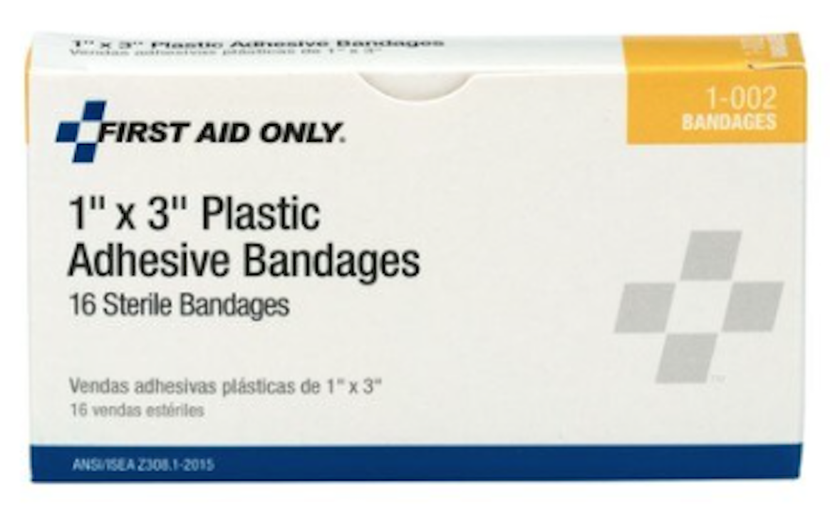 "Primary image for NEW 10Pk First Aid Only 1""x3"" Plastic Adhesive Sterile Bandages 16/ea box 160tot"