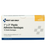 "NEW 10Pk First Aid Only 1""x3"" Plastic Adhesive Sterile Bandages 16/ea bo... - $23.65"