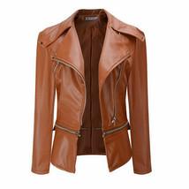 "Windproof Women""s Winter Zip Up PU Leather Jacket Motorcycle Biker Jacke... - $55.80"