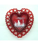 Westmoreland Red Glass Lacy Heart Fishing Boy Handpainted Dish Tray Laug... - $34.62
