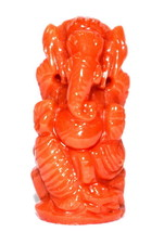 Coral Ganesha – 25.40 Carats / Lord Ganesha Carved in Natural Coral - $618.75