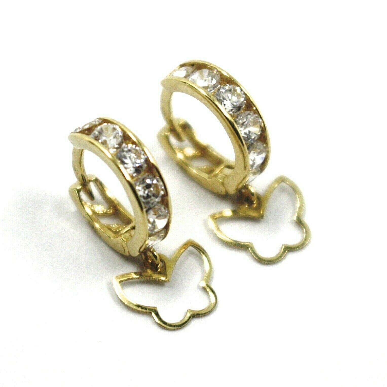 18K YELLOW GOLD PENDANT EARRINGS, MINI CUBIC ZIRCONIA HOOPS WITH BUTTERFLIES