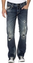 NEW ROCK REVIVAL MEN'S PREMIUM STRAIGHT LEG DISTRESSED JEANS DARK WASH JOEL J200