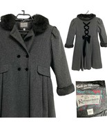 Tailored By Rothschild Girls Formal Gray 100% Wool Coat Faux Fur Sleeves... - $94.05