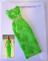 "11.5"" Barbie Doll-Size Clothes New Green 4-Leaf Clover Formal Dress Rhin... - $14.99"