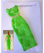 "11.5"" Barbie Doll-Size Clothes New Green 4-Leaf Clover Formal Dress Rhin... - $14.99"