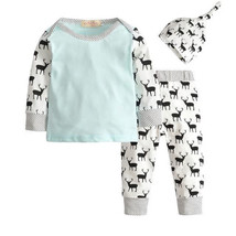 NWT Baby Boys Reindeer Blue Long Sleeve Shirt Pants & Hat Layette Outfit... - $8.44