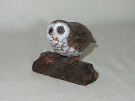 Carylle's Carved Wood Owl on Branch Figurine Signed Vintage Hand Painted - $29.69