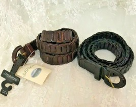 Lot of 2 St. John's Bay Women's Leather Belts Size XX-Large Brown and Black - $28.14