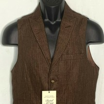 Murano Baird McNutt Linen Vest S Tobacco Brown Waistcoat Lined Buttons P... - $49.45