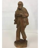 "Hand Carved Wood Folk Art Bare Feet Peasant Farmer Man Statue Figurine 12"" - $46.87"