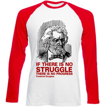 Frederick Douglass No Progress - New Red Sleeved Tshirt - $27.10