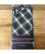 Tommy Hilfiger Mens Green White Navy Tartan Plaid Silk Pocket Square - $15.83
