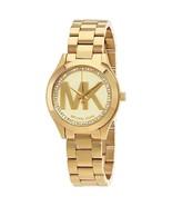 MICHAEL KORS MK3477 Gold Tone Mini Slim Runway Ladies Wrist Watch - $108.80