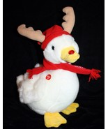 """AFLAC DUCK REINDEER 11"""" Talks White Red Blinking Nose Plush Soft Toy Stu... - $17.39"""