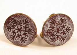 Vintage White Enamel Snow Flake Copper Round Circle Screw Back Earrings ... - $17.81