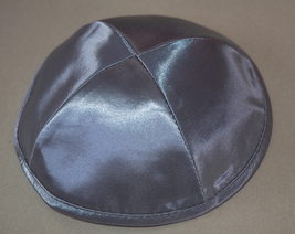 Judaica Gray Silver Satin Kippah Yarmulke Pin Spot 20 cm Israel Jewish Tradition image 2