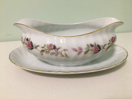 REGENCY ROSE Creative Fine China Gravy Boat w/ Underplate White Floral  - $16.82