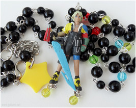 Final Fantasy Tidus Necklace, Beaded Rosary Chain, Silver - FFX, Gamer J... - $33.00