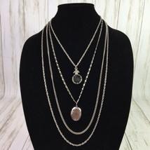 VTG Goldette Intaglio Cameo Locket Necklace Pendant 4 Chain  - $32.68