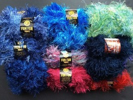 Lion Brand Yarn Fun Fur Lot Destash Eyelash Tickle Indigo Pink Green Red... - $34.52 CAD