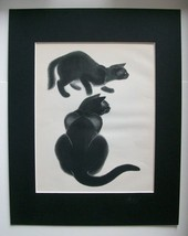 Black Cats Print Clare Newberry On Alert 1940 11x14 Bookplate Matted Cute - $18.74