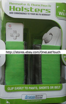 DREAMGEAR Remote+Nunchuck HOLSTERS for WII FIT Green+Grey FLEXIBLE DESIG... - $7.90